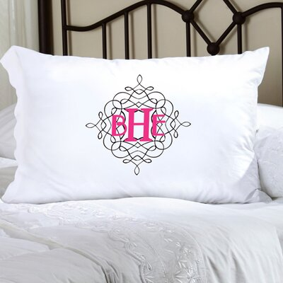 Personalized Gift Felicity Wistful Monogram Pillowcase Color: Black / Pink
