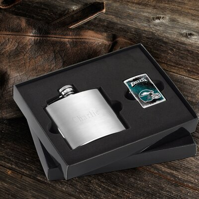 Personalized Gift Lighter and Brushed Flask Gift NFL Team: Philadelphia Eagles
