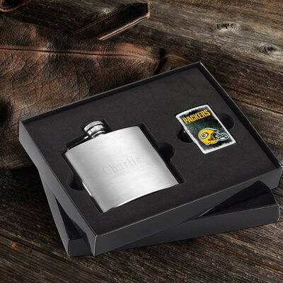 Personalized Gift Lighter and Brushed Flask Gift NFL Team: Green Bay Packers