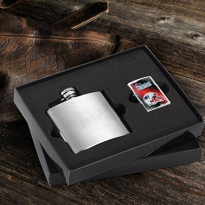 Personalized Gift Lighter and Brushed Flask Gift NFL Team: New England Patriots
