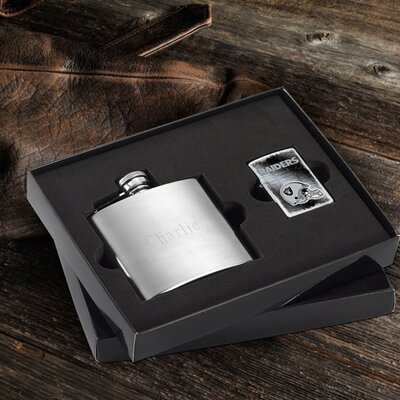 Personalized Gift Lighter and Brushed Flask Gift NFL Team: Oakland Raiders