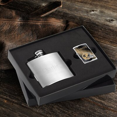 Personalized Gift Lighter and Brushed Flask Gift NFL Team: New Orleans Saints