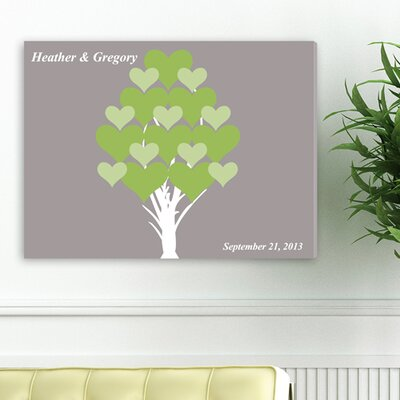Personalized Gift Signature Blooming Hearts Graphic Art on Canvas