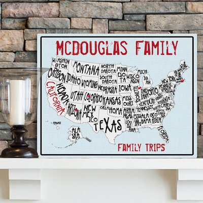 Personalized Gift Americana Family Map Textual art on Canvas