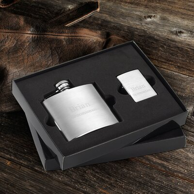 Personalized Gift Brushed Flask and Zippo Lighter