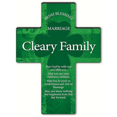 Personalized Gift Irish Blessing Shamrock Cross Blessing: Irish Marriage Blessing
