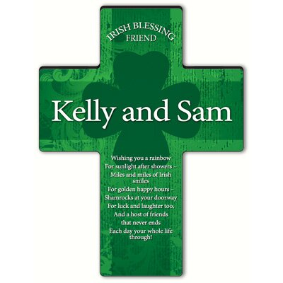 Personalized Gift Irish Blessing Shamrock Cross Blessing: Irish Friend Blessing