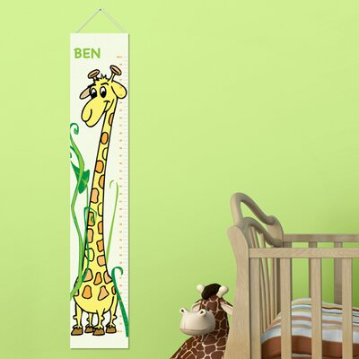 Personalized Gift Kids Canvas Height Growth Chart Color: Green