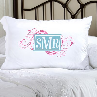 Personalized Gift Felicity Cheerful Monogram Pillowcase Color: Pink / Light Blue