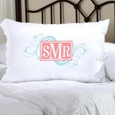 Personalized Gift Felicity Cheerful Monogram Pillowcase Color: Blue / Peach