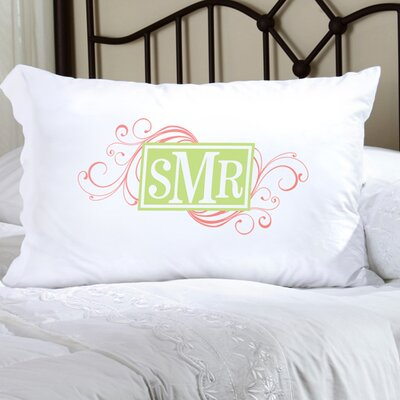 Personalized Gift Felicity Cheerful Monogram Pillowcase Color: Peach / Green