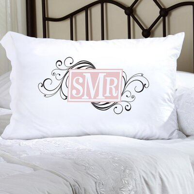 Personalized Gift Felicity Cheerful Monogram Pillowcase Color: Black / Peach