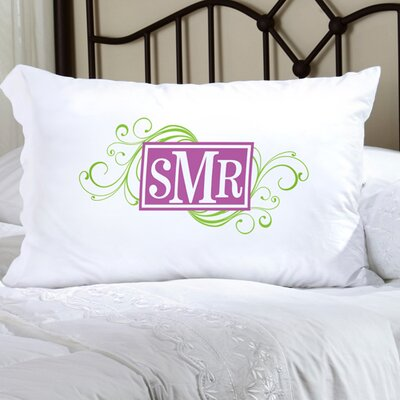 Personalized Gift Felicity Cheerful Monogram Pillowcase Color: Green / Purple