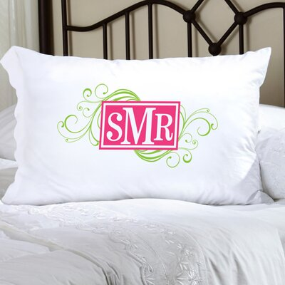 Personalized Gift Felicity Cheerful Monogram Pillowcase Color: Green / Pink