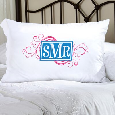 Personalized Gift Felicity Cheerful Monogram Pillowcase Color: Pink / Dark Blue