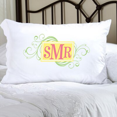 Personalized Gift Felicity Cheerful Monogram Pillowcase Color: Green / Yellow / Peach