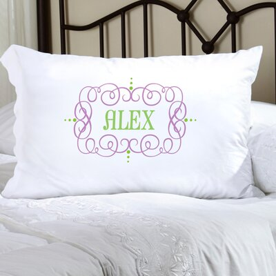 Personalized Gift Felicity Glamour Girl Pillowcase Color: Purple/Green