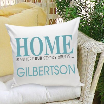 Personalized Gift Family Name Home Cotton Throw Pillow Color: Blue