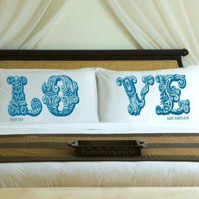 Personalized Gift Couples Love Pillowcase Color: Blissful Blue