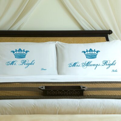 "Personalized Gift Couples ""Royal"" Pillowcase Color: Blissful Blue"