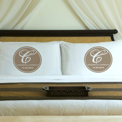"Personalized Gift Couples ""Magical Monogram"" Pillowcase Color: Shimmering Sands"