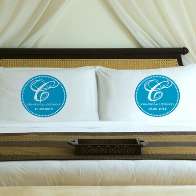 Personalized Gift Couples Magical Monogram Pillowcase Color: Topaz Blue