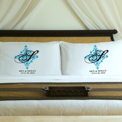 Personalized Gift Couples Perfect Panache Pillowcase Color: Topaz Blue