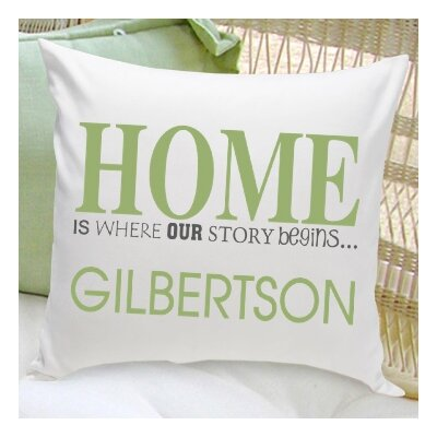 "Personalized Gift Family Name ""Home"" Cotton Throw Pillow Color: Green"