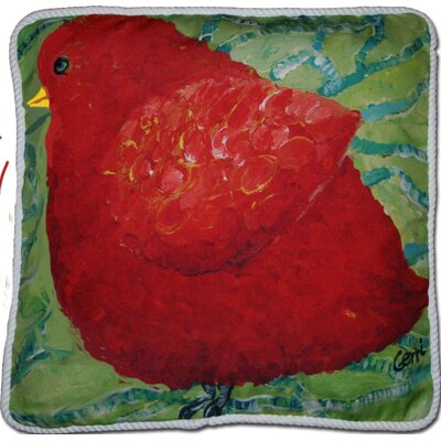 Adelinna Little Red Birdie Outdoor Throw Pillow