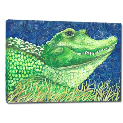'Whimsical Alligator' Acrylic Painting Print on Wrapped Canvas