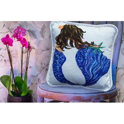 Mermaid Brunette Throw Pillow
