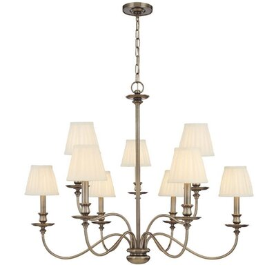 Jil 9-Light Shaded Chandelier Finish: Polished Nickel
