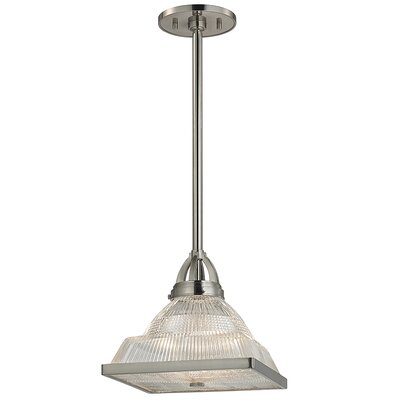 Eldon 1-Light Glass Shade Mini Pendant Finish: Satin Nickel
