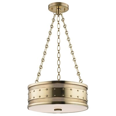 Gaines 3-Light Drum Pendant Finish: Aged Brass