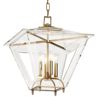Andover 4-Light Foyer Pendant Finish: Aged Brass, Size: 21.25 H x 19 W x 19 D