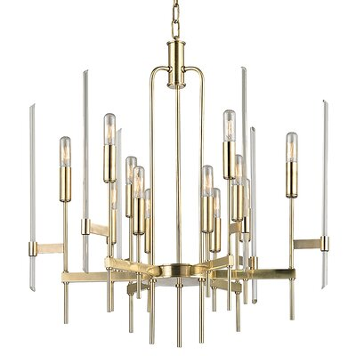 Kieran 12-Light Candle-Style Chandelier Finish: Aged Brass