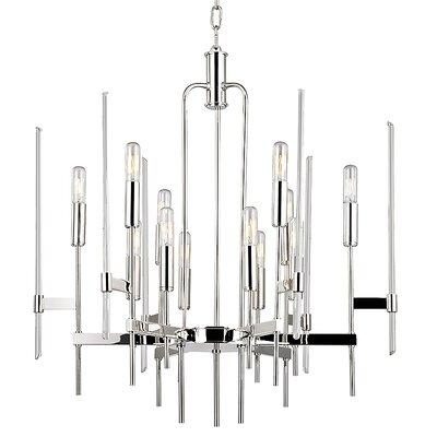 Kieran 12-Light Candle-Style Chandelier Finish: Polished Nickel