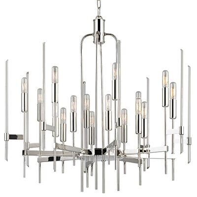 Kieran 16-Light Candle-Style Chandelier Finish: Polished Nickel