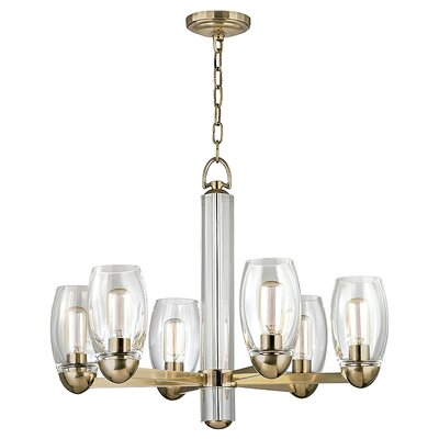 Dillan 6-Light Shaded Chandelier Finish: Aged Brass