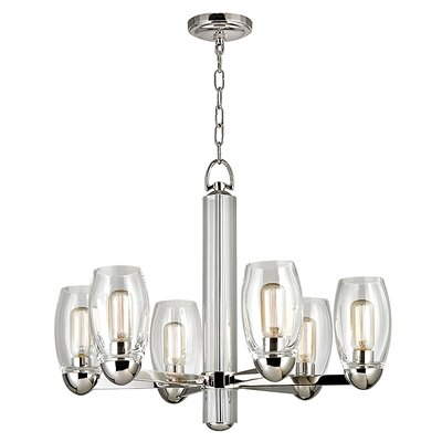 Dillan 6-Light Shaded Chandelier Finish: Polished Nickel