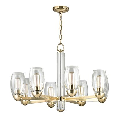 Dillan 8-Light Shaded Chandelier Finish: Aged Brass