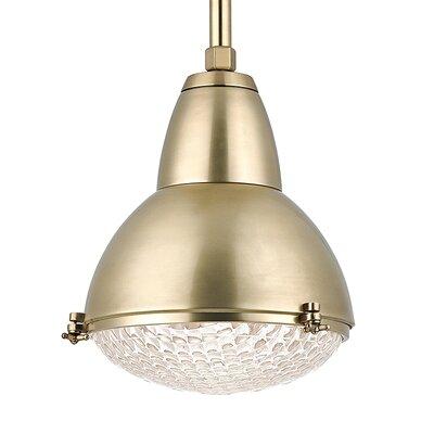 Belmont 1-Light Mini Pendant Finish: Aged Brass, Size: 76 H x 15.25 W