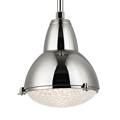 Ezequiel 1-Light Metal Mini Pendant Size: 76 H x 15.25 W, Finish: Polished Nickel