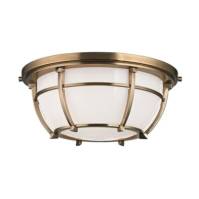 Argie 2-Light Flush Mount Finish: Aged Brass
