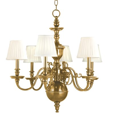 Charleston 6-Light Shaded Chandelier Finish: Aged Brass