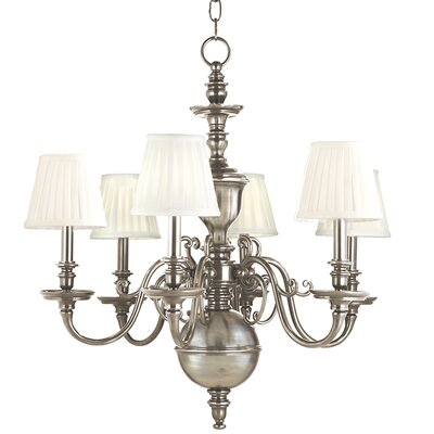 Philbrook 6-Light Shaded Chandelier Finish: Historic Nickel