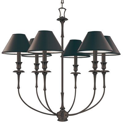 Letendre 6-Light Shaded Chandelier Finish: Old Bronze