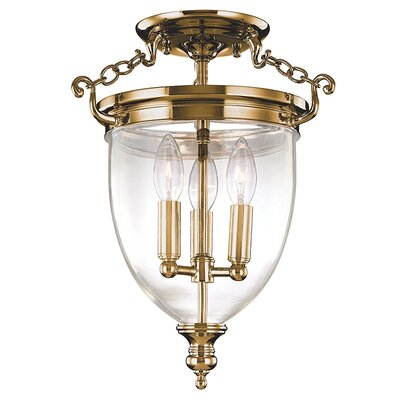 Philipston 11 3-Light Semi Flush Mount Color: Aged Brass, Size: 14.25H x 11W