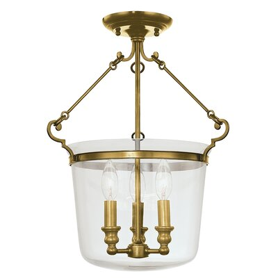 Edington 3-Light Pendant Finish: Aged Brass, Size: 17.75H x 14W