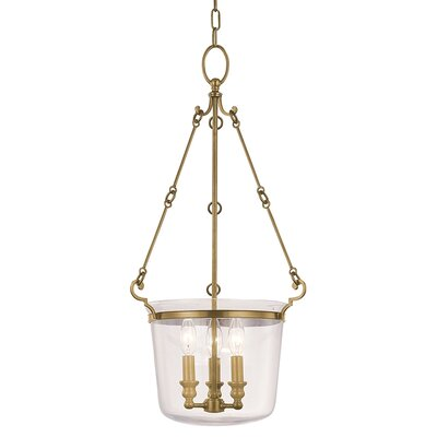 Quinton 3-Light Foyer Pendant Finish: Aged Brass, Size: Small
